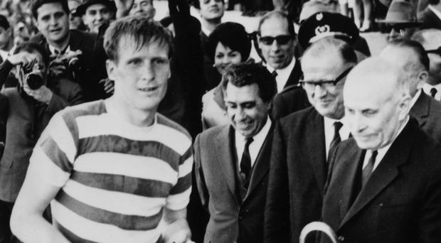 Celtic's Billy McNeill accepts the European Cup trophy from the president of Portugal after the Scottish side's 2-1 victory over Inter Milan in Lisbon in 1967 Photos: Getty