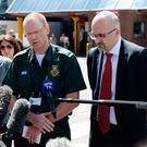Dr David Ratcliffe (left), medical director of North West Ambulance Service and Jon Rouse (right), Chief Officer of the Greater Manchester Health and Social Care Partnership speak to the media outside Manchester Royal Infirmary Photo: Joe Giddens/PA Wire