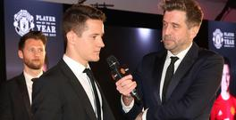 Chapman interviewing Ander Herrera at United's end of season awards. Getty