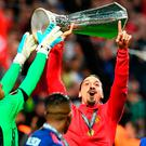 Manchester United's Zlatan Ibrahimovic celebrates with the trophy