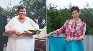 Before: Andrea McClintock on her wedding day; after losing 16st