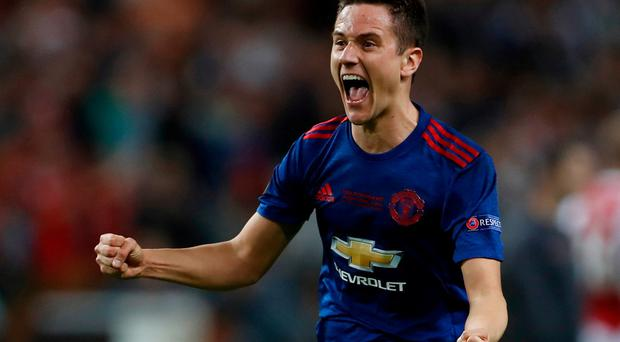 Manchester United's Ander Herrera celebrates after winning the Europa League