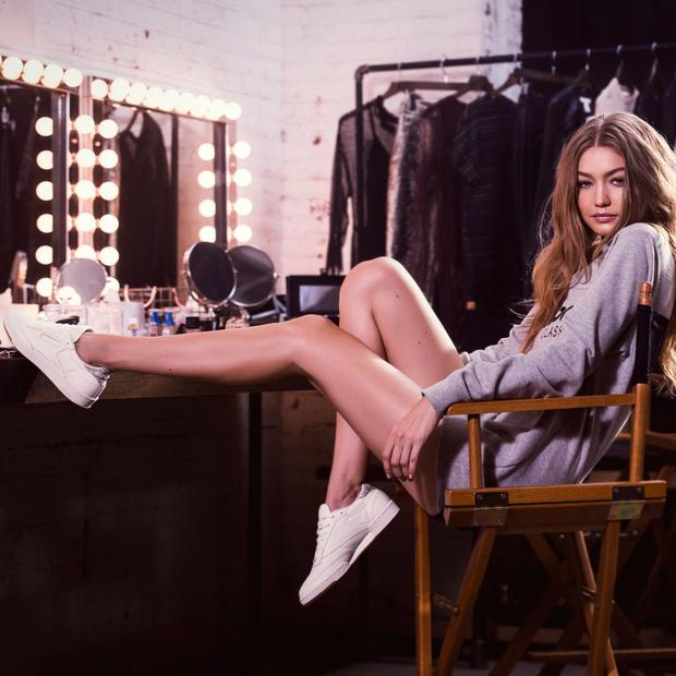 Gigi Hadid for the Reebok Classics campaign