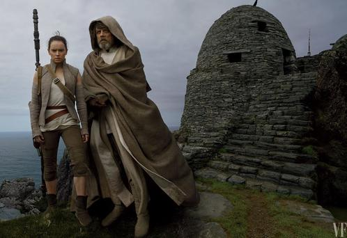 Daisy Ridley and Mark Hamill photographed on Skellig Michael by Annie Liebowitz for Vanity Fair
