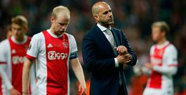 Ajax coach Peter Bosz looks dejected after the match last night