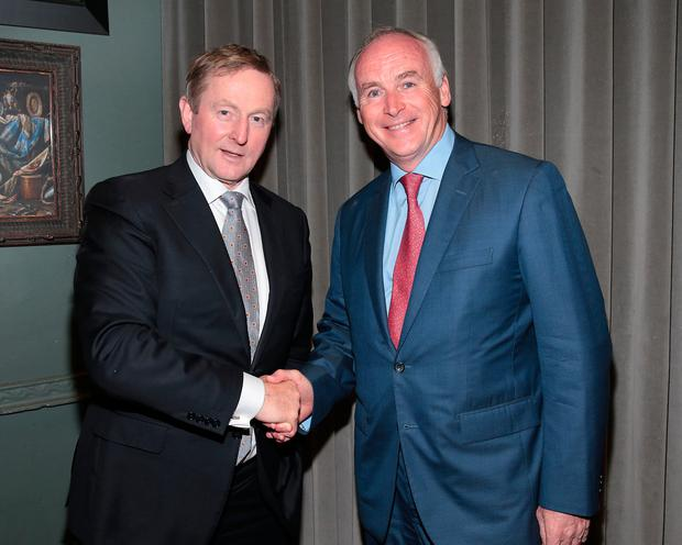 An Taoiseach Enda Kenny and John Fitzpatrick pictured celebrating 25 years of the Fitzpatrick Hotel Group New York at Farrier and Draper, Dublin. Picture: Brian McEvoy
