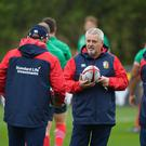CARDIFF, WALES - MAY 15: British & Irish Lions head coach Warren Gatland (C) speaks to British & Irish Lions coach Andy Farrell (L), British & Irish Lions coach Neil Jenkins and British & Irish Lions coach Rob Howley during a British and Irish Lions training session at Vale of Glamorgan on May 15, 2017 in Cardiff, Wales. (Photo by Stu Forster/Getty Images)