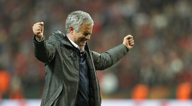 Manchester United's Portuguese manager Jose Mourinho celebrates after the UEFA Europa League final football match Ajax Amsterdam v Manchester United on May 24, 2017 at the Friends Arena in Solna outside Stockholm. (Photo by Raddad Jebarah/NurPhoto via Getty Images)