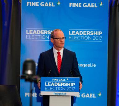 Minister Simon Coveney at the Fine Gael Hustings for the leadership of the party at the Red Cow hotel in Dublin. Picture: Arthur Carron