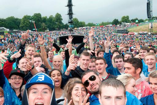 No hassle at the castle: Crowds fill the natural amphitheatre at Slane. Photo: Patrick O'Leary