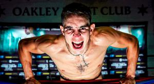Michael Conlan strikes a pose during a photoshoot at the Oakley Fight Club in Chicago. Photo: Mikey Williams/Top Rank/Sportsfile.