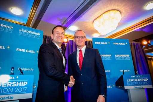 Leo Varadkar and Simon Coveney at the Fine Gael hustings Picture: Arthur Carron