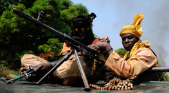 Seleka coalition rebels in the Central African Republic patrolling near Damara in 2013. Photo: AFP/Getty Images