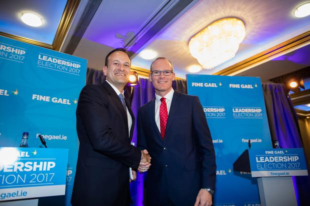 Minister Leo Varadkar and Minister Simon Coveney at the Fine Gael Hustings for the leadership of the party
