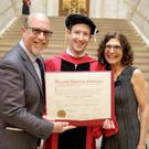 Mark Zuckerberg with his parents Edward and Karen Credit: Facebook