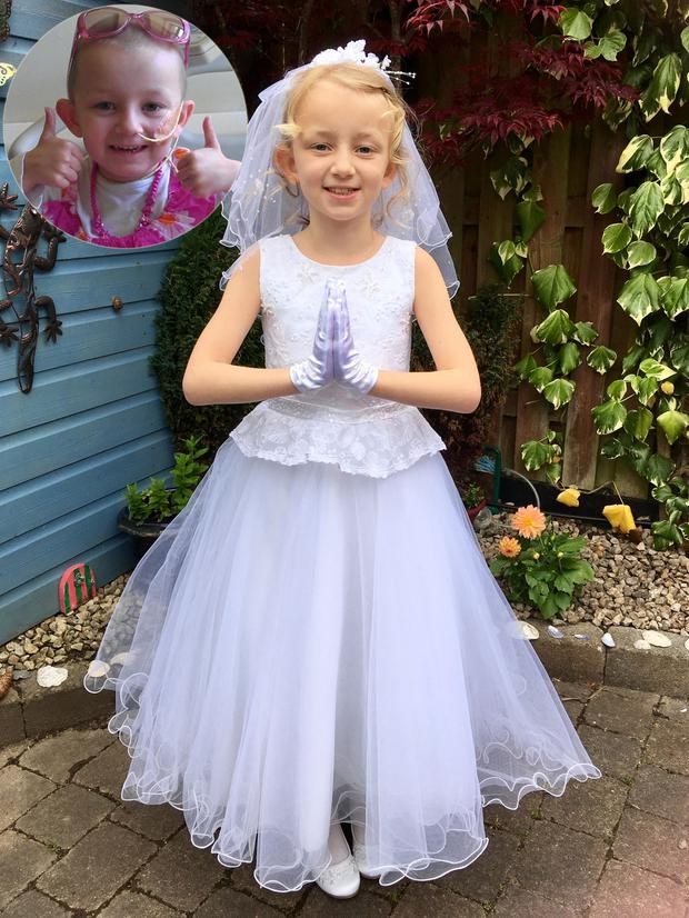 Lily-Mae celebrates her First Holy Communion; (inset) pictured in Crumlin Children's hospital in 2013