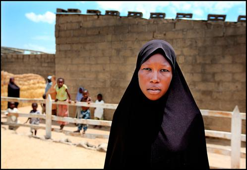 Fatima Muhamed (25), a young woman in Bulunkutu, a district in Maiduguri in Nigeria who has been internally displaced because of Boko Haram. Pic Steve Humphreys