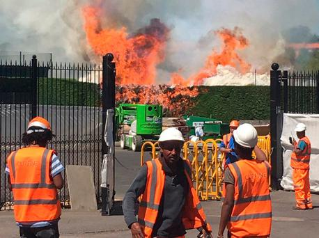 Wimbledon fire: Blaze rages on court at All England Tennis Club