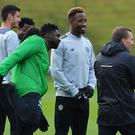 GLASGOW, SCOTLAND - OCTOBER 18: Kolo Toure, Moussa Dembele and Brendan Rodgers manager of Celtic look on during a Celtic training session on the eve of their UEFA Champions League Group C match against Borussia Moenchengladbach at Lennoxtown Training Centre on October 18, 2016 in Glasgow, Scotland. (Photo by Mark Runnacles/Getty Images)