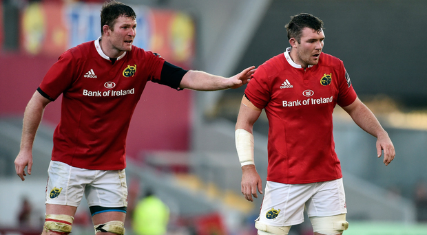 1 October 2016; Donnacha Ryan and Peter O'Mahony of Munster during the Guinness PRO12 Round 5 match between Munster and Zebre at Thomond Park in Limerick. Photo by Diarmuid Greene/Sportsfile