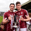 Galway captain David Burke and Jason Flynn celebrate with the cup. Photo: Diarmuid Greene/Sportsfile