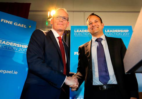 Fine Gael leardership contenders Simon Coveney and Leo Varadkar pictured on stage at Carlow IT where Fine Gael were hold the second night of their leadership hustings .Picture Credit:Frank Mc Grath 26/5/17