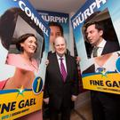 Finance Minister Michael Noonan with Kate O'Connell and Eoghan Murphy before the last General Election
