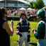 Frankie Dettori shares a joke with connections at Goodwood yesterday. Photo: Getty