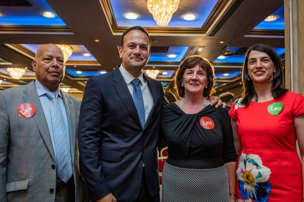 Minister Leo Varadkar with his parents, Dr Ashok Varadkar and wife Miriam, and his sister Sonia at the Fine Gael Hustings for the leadership of the party at the Red Cow Hotel in Dublin. Picture: Arthur Carron