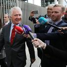 The former chairman of Anglo Irish Bank, Sean FitzPatrick leaves the Dublin Circuit Criminal Court with his daughter Sarah after he was acquitted Picture: Collins