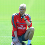 Arsene Wenger deep in thought at yesterday's training session. Photo: Getty