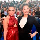 Gal Gadot (L) and Lynda Carter attend the premiere of Warner Bros. Pictures'