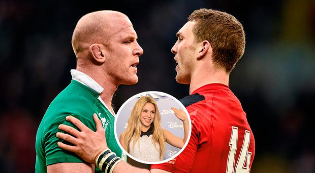 Paul O'Connell with George North and (inset) Shakira