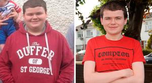 Eoghan Gaffney Glynn before his seven stone weight loss, left, and after, right