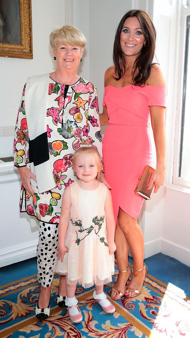 Miriam Ahern and daughter Georgina Ahern and Georgina's daughter Tia at the annual CARI Charity lunch at the Shelbourne Hotel, Dublin. Picture: Brian McEvoy