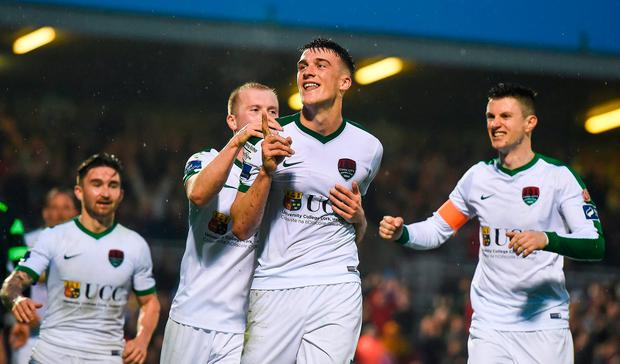 Ryan Delaney of Cork City celebrates after scoring against Shamrock Rovers at Turners Cross last year. Photo by Eóin Noonan/Sportsfile