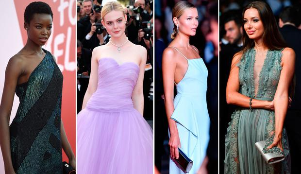 (L to R) Maria Borges, Elle Fanning, Natasha Poly and Lara Lieto at the Cannes Film Festival