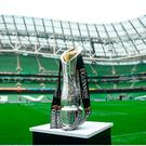 A general view of the trophy ahead of the Guinness PRO12 Final between Munster and Scarlets at the Aviva Stadium in Dublin. Photo by Ramsey Cardy/Sportsfile