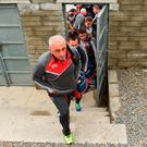 Cork manager Peadar Healy arrives for the match against Waterford with his players before the Munster GAA Football Senior Championship Quarter-Final match between Waterford and Cork at Fraher Field in Dungarvan, Co Waterford. Photo by Matt Browne/Sportsfile