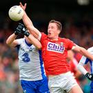 Colm O'Neill of Cork in action against Stephen Prendergast and Thomas O'Gorman of Waterford during the Munster GAA Football Senior Championship Quarter-Final match between Waterford and Cork at Fraher Field in Dungarvan, Co Waterford. Photo by Matt Browne/Sportsfile