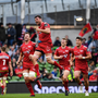 27 May 2017; Tadhg Beirne of Scarlets celebrates at the final whistle during the Guinness PRO12 Final between Munster and Scarlets at the Aviva Stadium in Dublin. Photo by Ramsey Cardy/Sportsfile