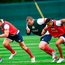 British and Irish Lions players, from left, Mako Vunipola, Dan Biggar, Jack McGrath, Anthony Watson and Ben Te'o during squad training at Carton House in Maynooth. Photo: Sportsfile