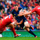 Munster's Tommy O'Donnell is tackled by Werner Kruger and Ryan Elias during the PRO12 final at the Aviva Stadium yesterday. Photo: Ramsey Cardy