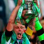 Celtic captain Scott Brown lifts the cup. Photo: PA Wire