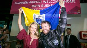 Aoibhin Garrihy welcomes home husband John Burke. Picture: Arthur Ellis