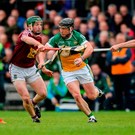 Offaly's Seán Ryan in action against Westmeath's Alan Devine, Niall O'Brien and Aonghus Clarke during last night's Leinster SHC quarter-final at Cusack Park in Mullingar. Photo: Sportsfile