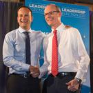 Leo Varadkar and Simon Coveney at the end of day three of the Fine Gael leadership hustings