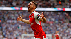 Arsenal's Aaron Ramsey celebrates scoring their second goal. Photo: Reuters