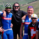 Charity: Eamon Duffy, James and Johnny Ronan, former An Post Ras winner Philip Cassidy, ex-pro cyclist Alan McCormack and brother Paul take a break from Race the Ras.