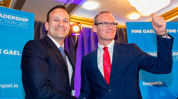 Minister Leo Varadkar and Minister Simon Coveney at the Fine Gael Hustings for the leadership of the party at the Red Cow Hotel in Dublin. Picture: Arthur Carron